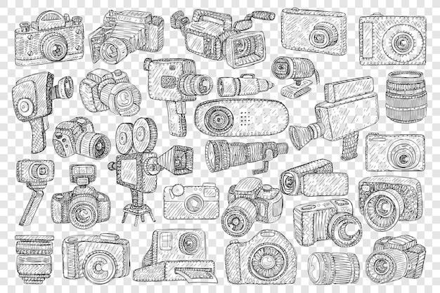 Cámaras fotográficas y trípodes doodle conjunto ilustración
