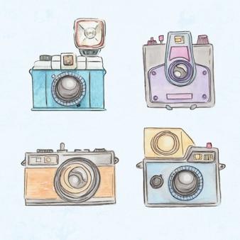 Cámaras vintage polaroid pintadas a mano