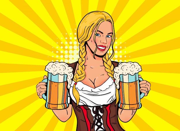 Camarera chica rubia lleva vasos de cerveza