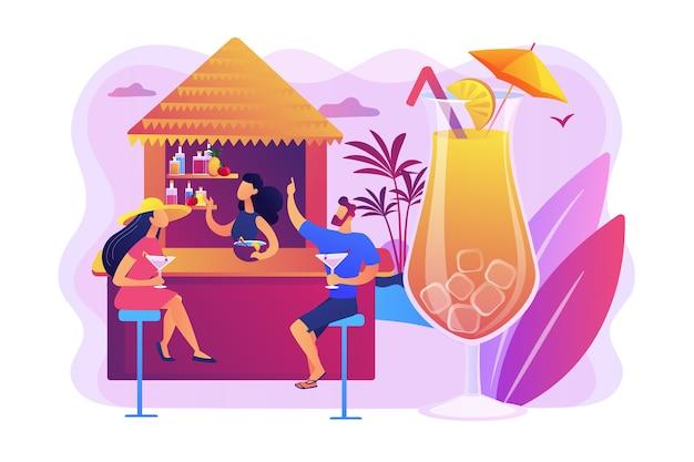 Camarero en bar de playa y turistas bebiendo cócteles en resort tropical, gente pequeña. bar de playa, restaurante en la costa del mar, concepto de servicio de club de playa.
