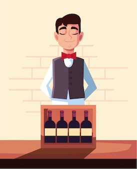 Camarero con botellas de vino.