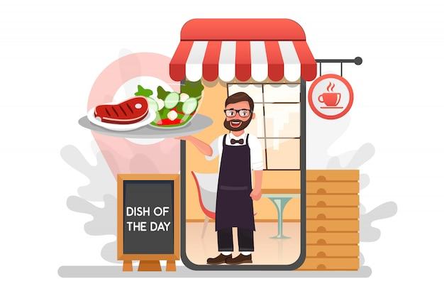 Camarero con comida de entrega del restaurante personaje de dibujos animados plana. servicio de comida en restaurante