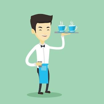 Camarero que sostiene la bandeja con tazas de café o té.
