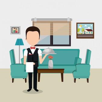 Camarero trabajando en el personaje del hotel