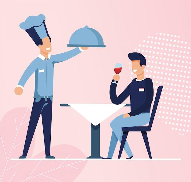 Camarero trajo comida ordenada por un hombre joven en el café