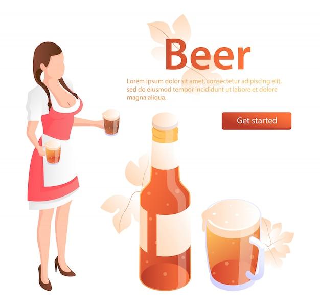 Camarero con vasos de cerveza