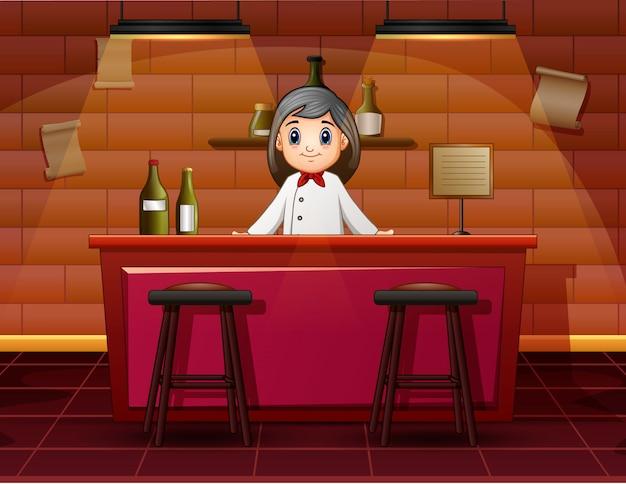 Camareros femeninos en la barra de bar