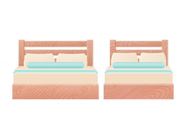 Camas dobles de madera individuales en estilo plano