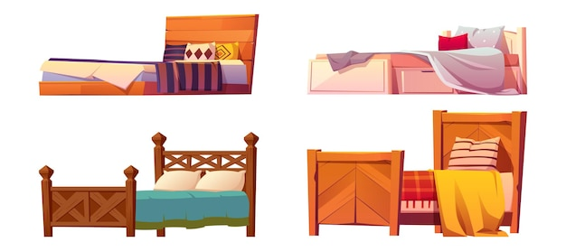Camas de madera con manta y almohadas aisladas en blanco