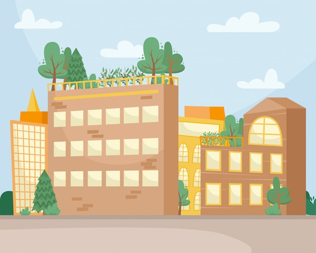 Camas con plántulas para el cultivo de hortalizas en el techo de un edificio. consumo ambiental. ciudad de la granja.