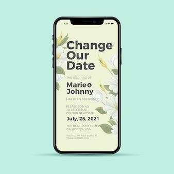 Cambiar nuestra aplicación de teléfono de boda pospuesta