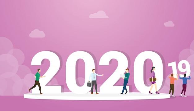 Cambio de año nuevo 2020 a partir de 2019 con personas de negocios con grandes palabras - vector