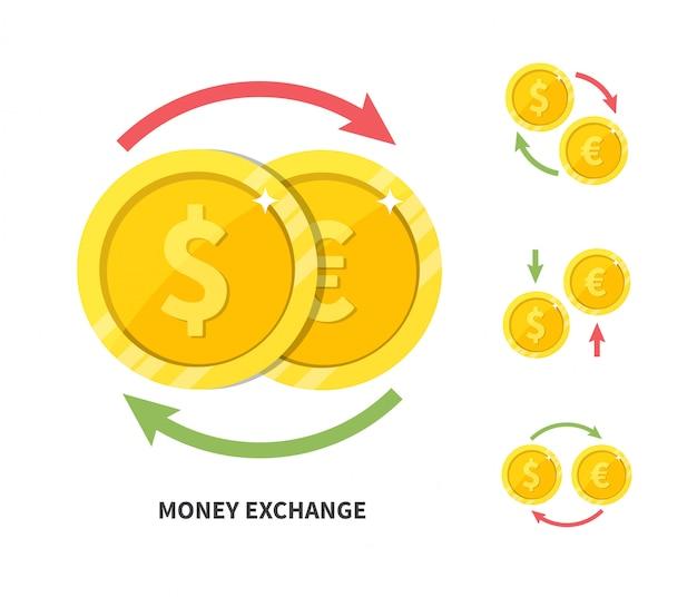 Cambio de moneda dólar euro, ilustración vectorial plana