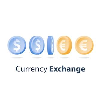 Cambio de moneda, monedas de dólar y euro, concepto financiero, vista lateral, secuencia de giro, icono