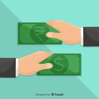 Cambio de moneda de rupias indias