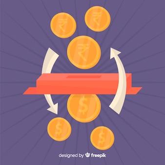 Cambio de monedas de rupias indias