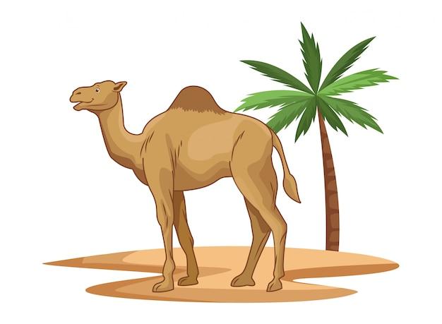 Camello en el desierto con dibujos animados de palmera aislado