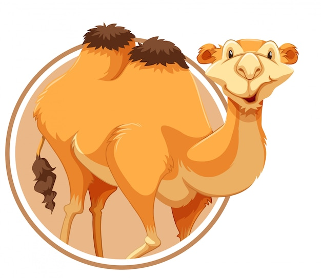 Un camello en plantilla de etiqueta