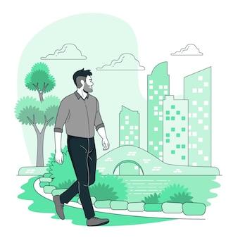 Caminando por la ilustración del concepto