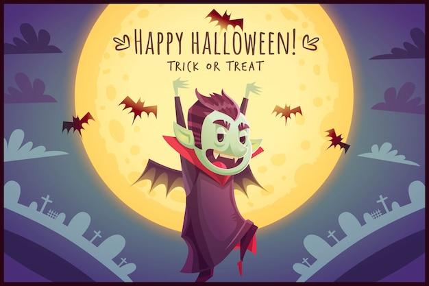 Caminando vampiro de dibujos animados con murciélagos volando detrás sobre fondo de cielo de luna llena cartel de feliz halloween ilustración de tarjeta de felicitación de truco o trato