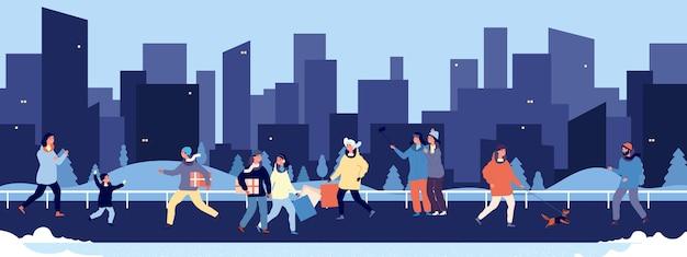 Caminata de invierno. gente feliz caminando en el centro. plano hombres mujeres niños mascotas en siluetas de calle y rascacielos. invierno con gente
