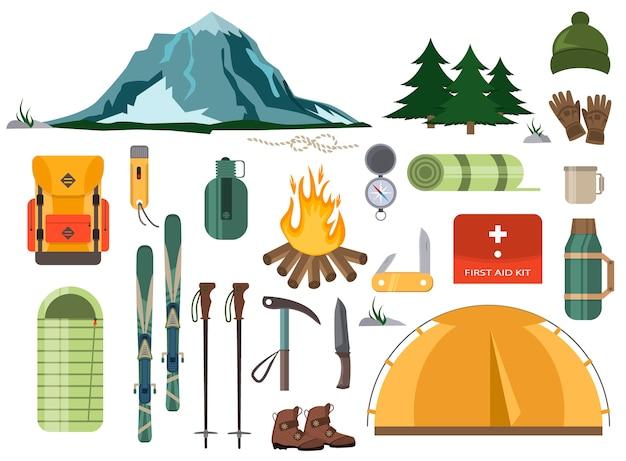 Caminata de montaña, esquí de invierno, senderismo, mochila con nieve, accesorios de esquí. viajes escalada ilustración de montañismo.