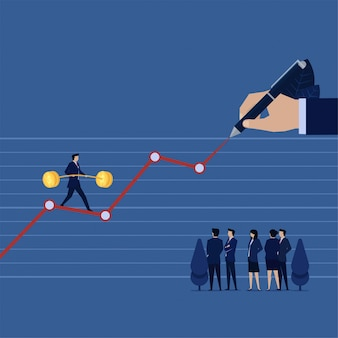 Caminata de negocios que se balancea en la tabla de ganancias financieras a mano, mientras que el equipo analiza las ganancias futuras.