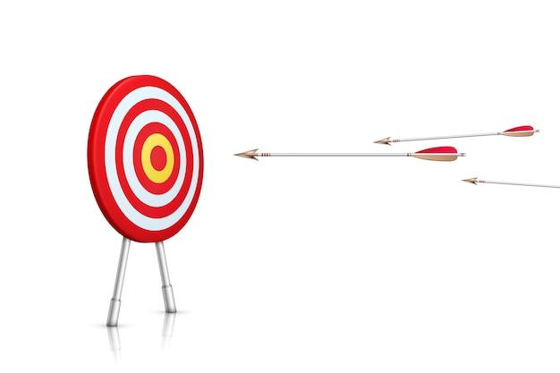 Camino al éxito. objetivo realista y flechas sobre fondo blanco. ilustración.
