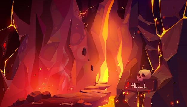 Camino al infierno, cueva infernal caliente con lava y fuego