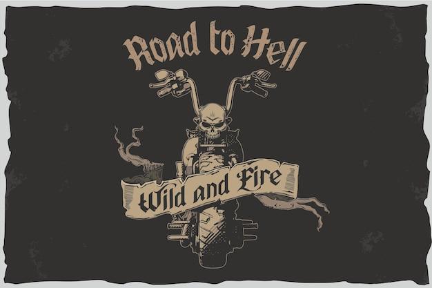Camino al infierno - ilustración de camiseta de vector