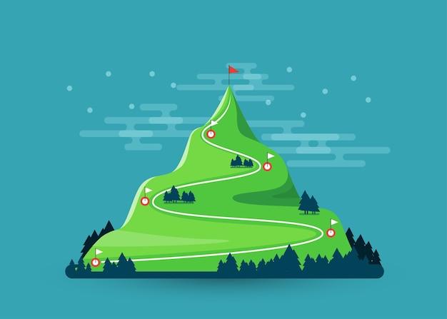 Camino al objetivo. senderismo de escalada. bandera en la cima de la montaña.