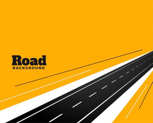 Camino de la carretera en perspectiva sobre el diseño de fondo amarillo