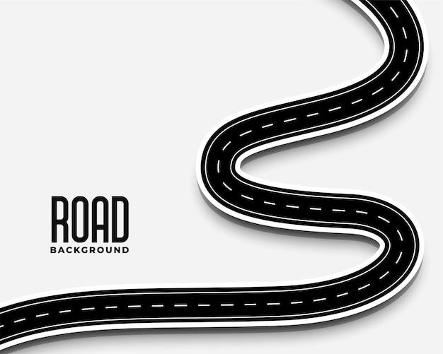 Camino de la carretera sinuosa curva en diseño de estilo 3d