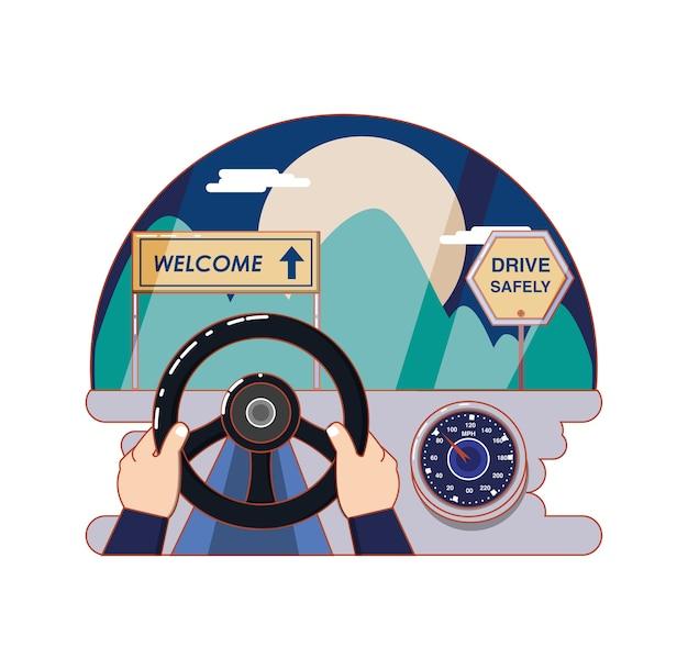 Camino con diseño de ilustración de vector de etiqueta de bienvenida