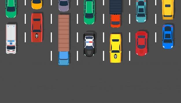 Camino del ejemplo de la opinión superior del coche del atasco.