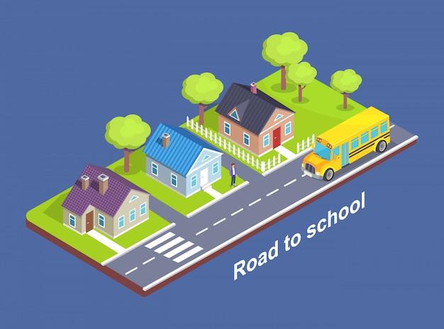 Camino a la escuela a través de cottage town con crosswalk