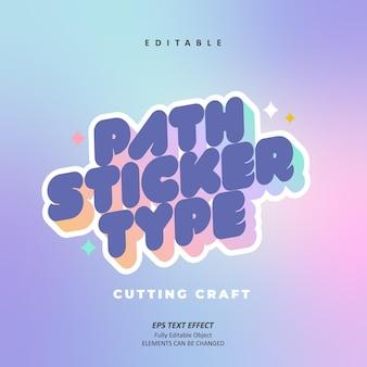 Camino de la etiqueta engomada que corta el efecto de texto de la sombra del arco iris púrpura del arte editable vector premium