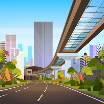 Camino a la gran ciudad con rascacielos y vista de paisaje urbano moderno de ferrocarril