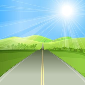 Camino en ilustración plana valle