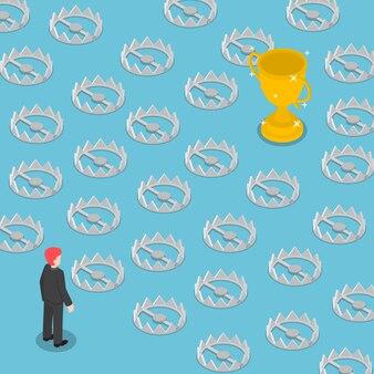 Camino isométrico difícil hacia el éxito lleno de trampas