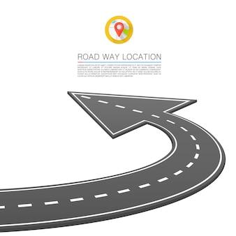 Camino pavimentado en la carretera, flecha de ubicación de la carretera. vector de fondo