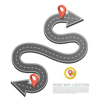 Camino pavimentado en la carretera, ubicación de la flecha de la carretera, flecha de la carretera sinuosa. vector de fondo