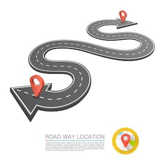 Camino pavimentado en la carretera, ubicación de la flecha de la carretera. vector de fondo
