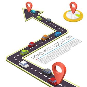 Camino pavimentado en la carretera, ubicación isométrica de la carretera, coche de color de la carretera, fondo de vector