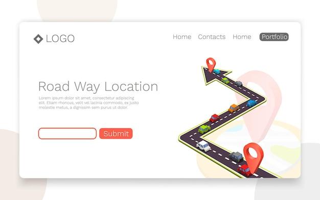 Camino pavimentado en la carretera, ubicación isométrica de la carretera, concepto de página de destino. ilustración vectorial