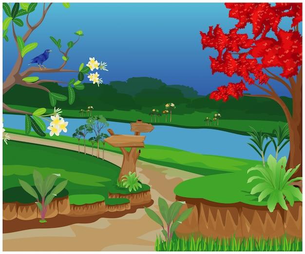 El camino a pie en la ilustración del bosque