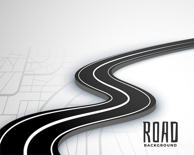 Camino sinuoso camino 3d en estilo de mapa