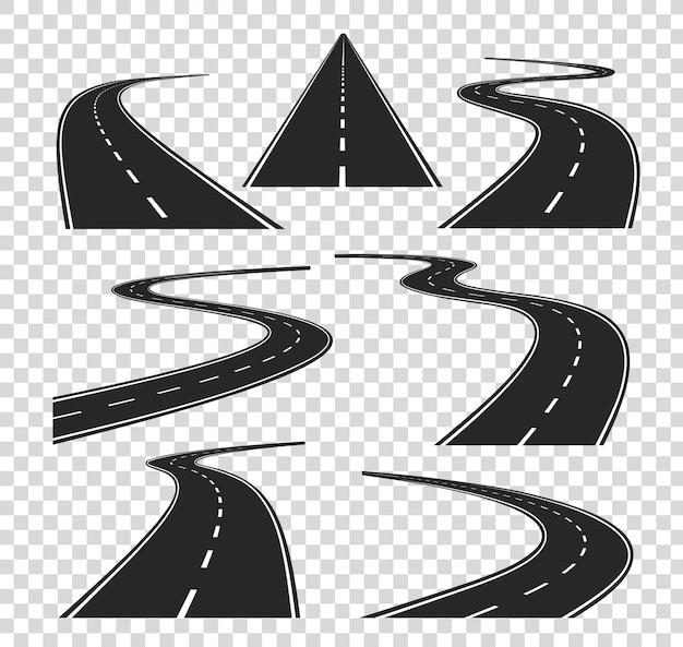 Caminos en perspectiva. camino doblado camino curva ciudad calle al horizonte. carretera de asfalto de viaje aislado