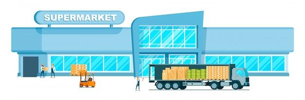 Camión de almacén rápido entregando peso al centro comercial