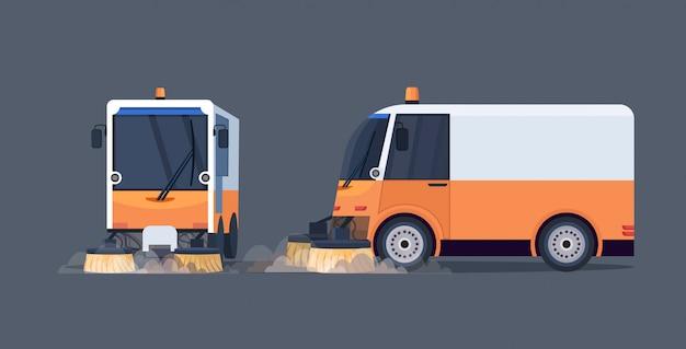 Camión barrendero moderno vista frontal y lateral máquina de limpieza de vehículos industriales concepto de servicio de carretera urbana horizontal plana